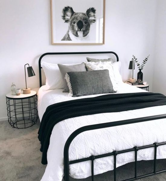 Cozy Small Bedroom In Black And White With A Black Metal Bed Cozy Small Bedrooms Small Bedroom Decor Bedroom Decor For Couples
