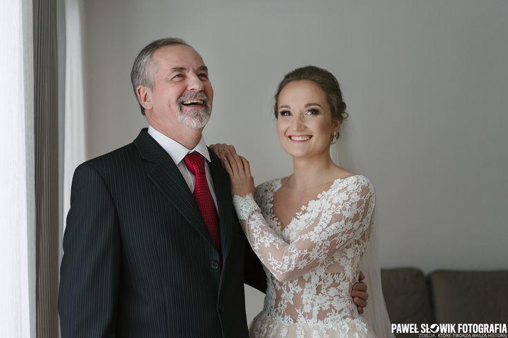 radosny i naturalny portret panny młodej z tatą :) takie zdjęcia stanowią niesamowita pamiątkę