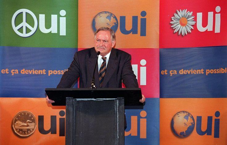 3 octobre 1995 Jacques Parizeau, premier ministre du Québec s'adresse au monde des affaires alors qu'il fait campagne pour l'indépendance du Québec.