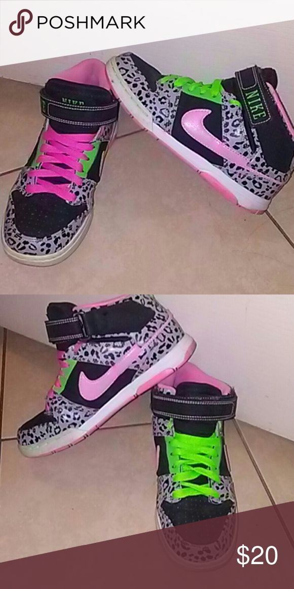 NIKE pink green and black hightops good condition Nike Shoes Sneakers