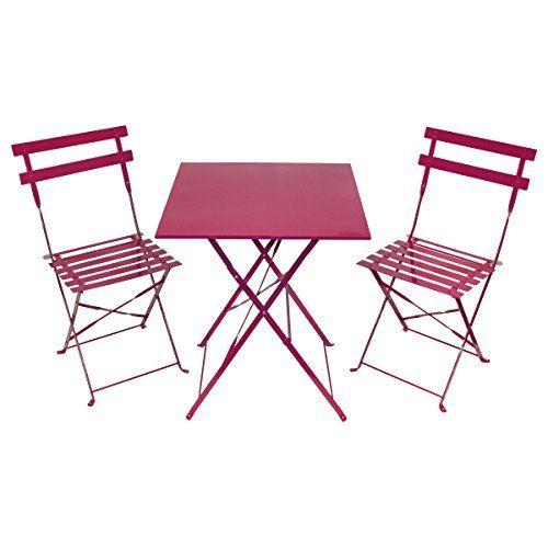 Salon de jardin style bistro 3 pi ces table carr e et - Table jardin metal ...