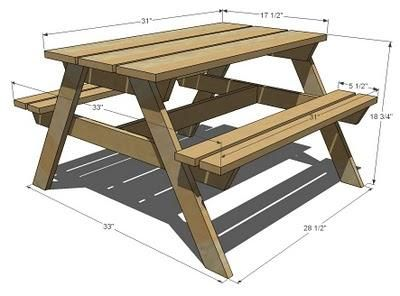Kids Picnic Table Plans - Downloadable Free Plans