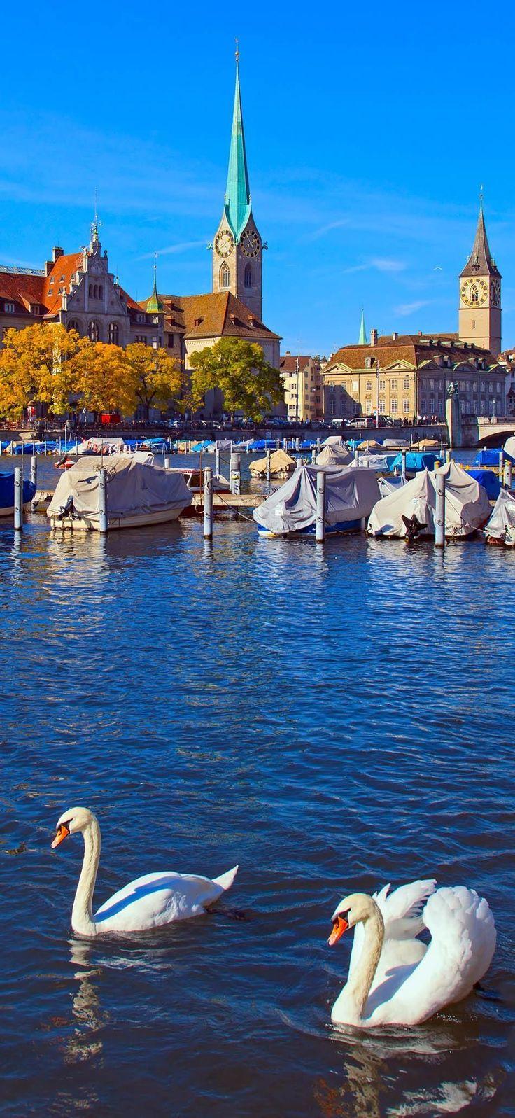 Limmat река осенью, Цюрих, Швейцария |  Узнайте, почему Швейцария является страной, где Splendor кажется бесконечным