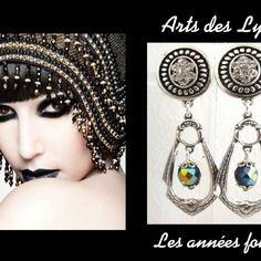 Boucles d'oreille à clips ❤ esprit 1920 « années folles » ❤ cristal de bohême, métal argenté ❤