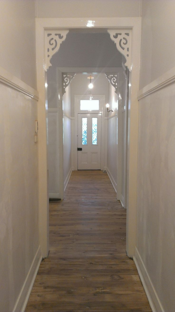 Cross Hallways Sanded. Floors cypress pine.