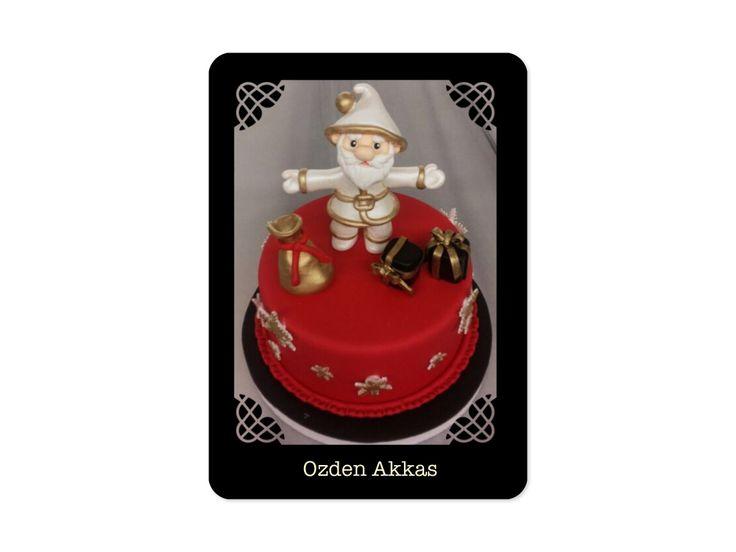 Christmas cake golden santa