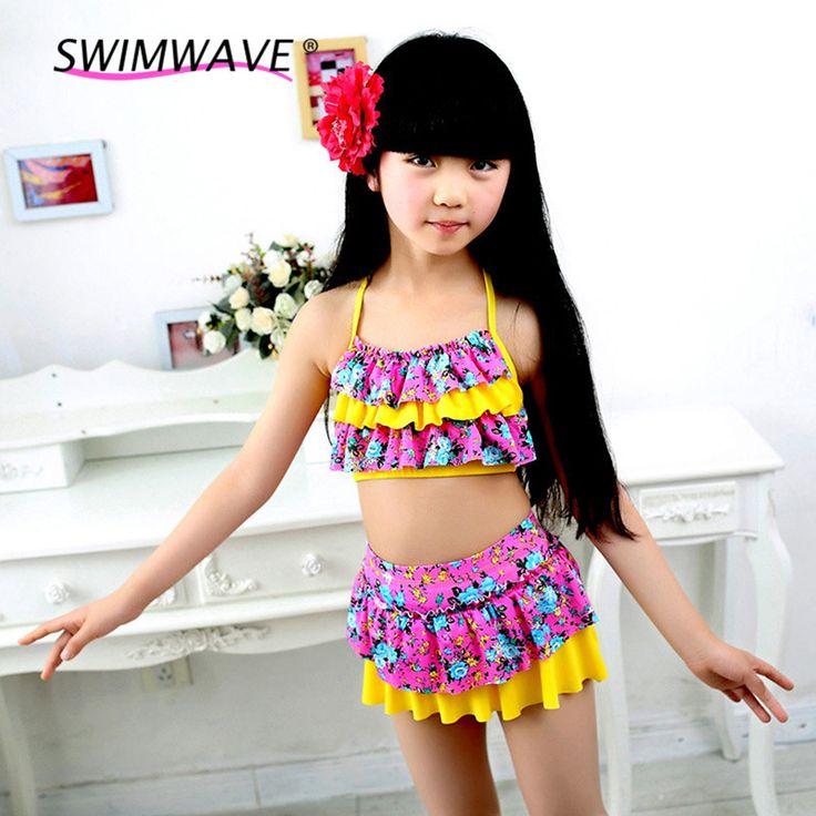Summer Children Split Two-piece Swimsuit Strap Cross Neck Girls Dress Skirt Bikini Biquini Children Kids Ruffled Pleat Swimwear