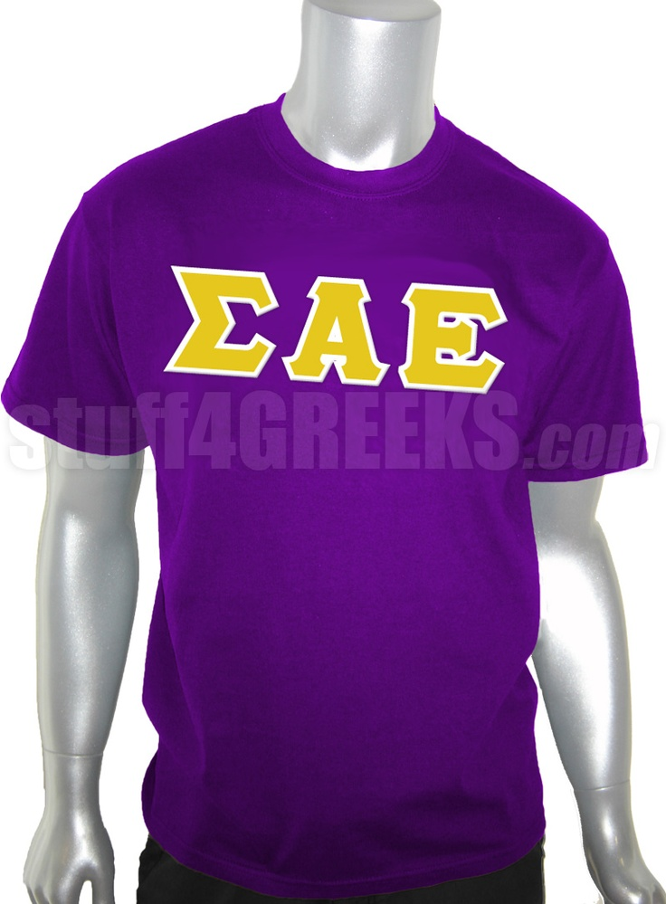 purple sigma alpha epsilon t shirt with the greek letters across the chest