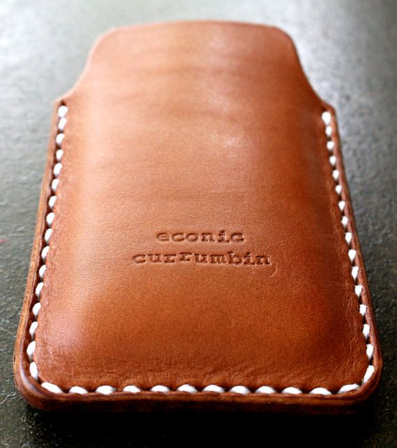 iPhone case/sleeve/cover leather brown handmade by econiccurrumbin