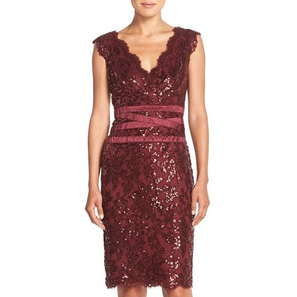 Tadashi Shoji Sequin Lace Sheath Dress ($173) ❤ liked on Polyvore featuring dresses, marsala, petite, red dress, tadashi shoji dresses, petite dresses, sequin dress and red lace cocktail dress
