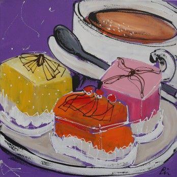 Schilderij Koffie met gebak 60x60