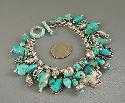 Vintage Zuni Navajo Joan Slifka Cross Heart Turquoise Charm Bracelet Necklace   eBay
