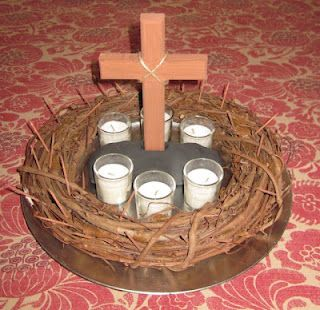 "Lenten centerpiece idea.  I think we will sing ""O Sacred Head"" before each meal and light candles for each week of Lent.  The kids just love our Advent tradition, so why not adapt it to Lent?"