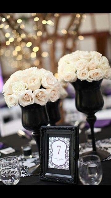 Idee centro tavola wedding black white
