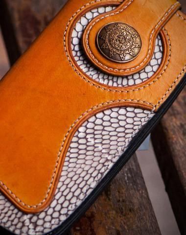 Handmade leather biker trucker wallet Brown boa skin leather chain men wallet …