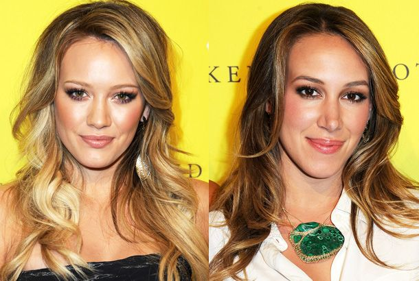 Hilary and Haylie Duff--- These sisters got their start in television, with Hilary starring on Lizzie McGuire and Haylie on 7th Heaven.  Hilary is happily married to hockey player Mike Comrie. Haylie will next be seen on the TV series Napoleon Dynamite, based on the movie of the same name.