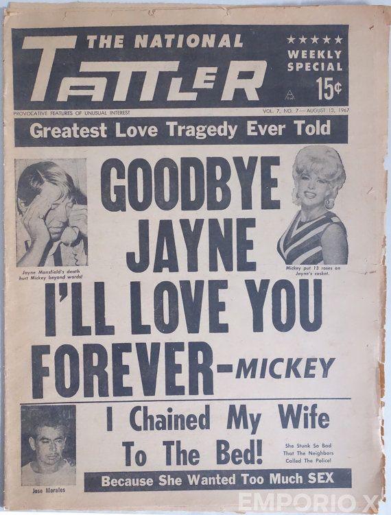 JAYNE MANSFIELD DEATH Drama Tattler 1967 Vintage by ...