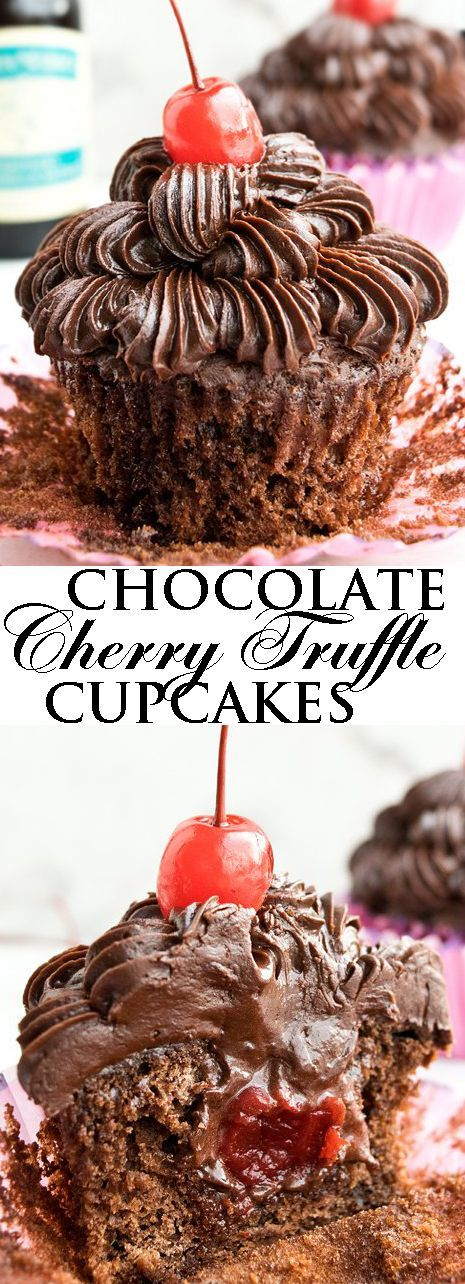 This CHOCOLATE CHERRY CUPCAKES recipe is made from scratch, using maraschino cherries. These soft and moist cupcakes are also stuffed with fudgy cherry truffles. Great for wedding parties or even birthdays. From http://cakewhiz.com