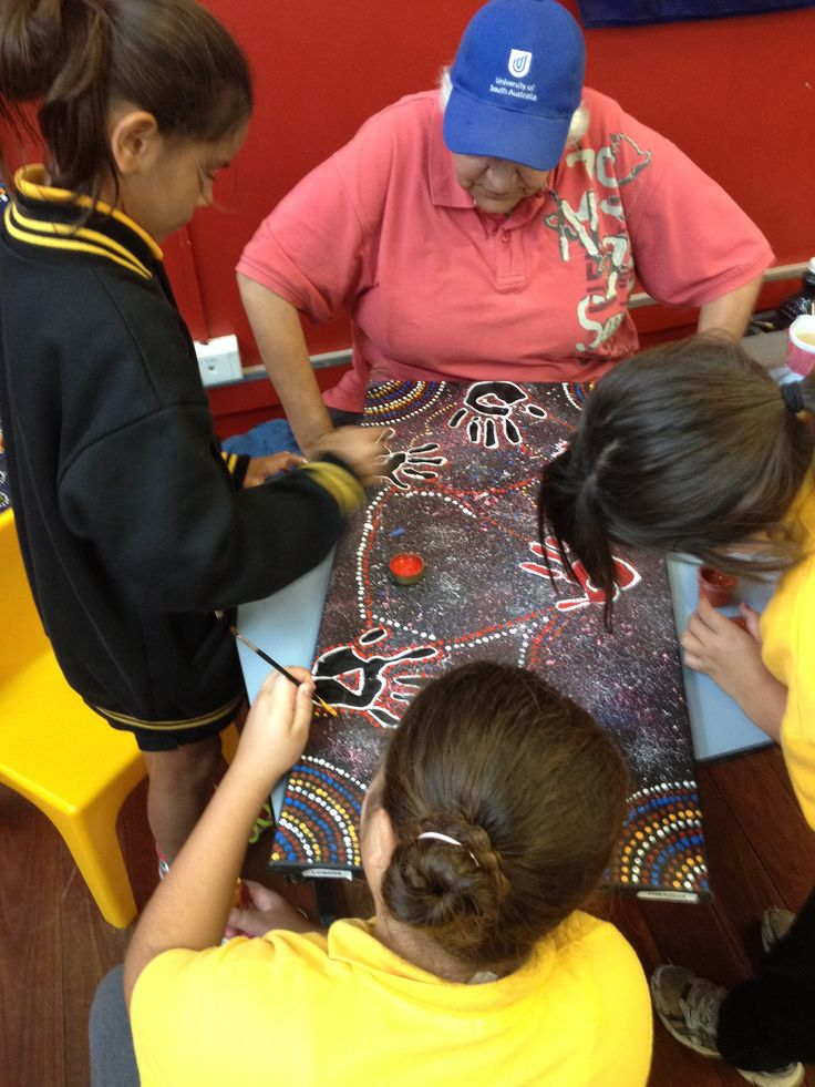 Reconciliation week celebrations 2014. Photo features a friend showing the children how to dot paint.