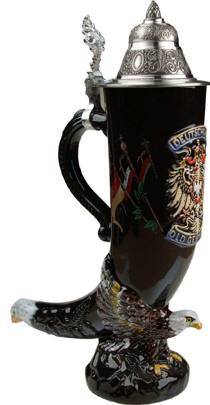 Lid german beer mug hinged lid gaming computer desk ideas - Eagle Drinking Horn Authentic German Beer
