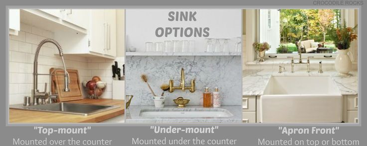Farmhouse Sink Mounting Options : Sink Options: Under-mount, Top-mount or Apron-front (aka farm-style ...