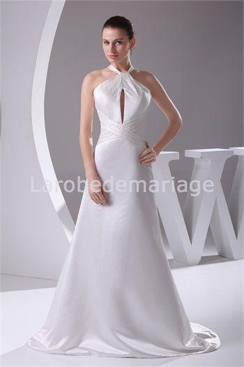 Robe de mariée simple Sablier A-ligne Naturel Avec bretelles col ...