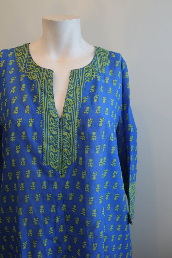 vintage. 60s Cotton Indian Tunic Dress / Short by styleforlife
