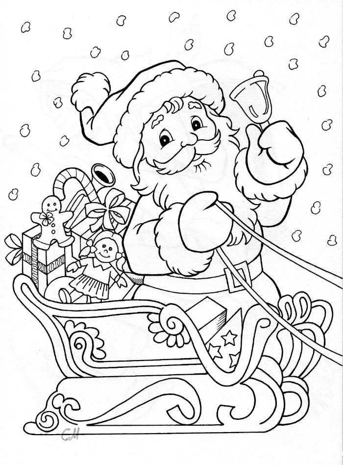 ausmalbilder weihnachtsmann mit schlitten  aglhk