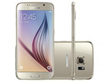 "Smartphone Samsung Galaxy S6 32GB Dourado 4G - Câm. 16MP + Selfie 5MP Tela 5.1"" WQHD Octa Core"