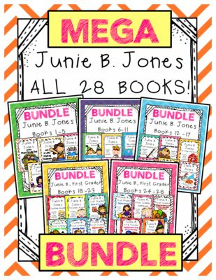 Junie B. Jones The MEGA BUNDLE: Reading Responses for ALL 28 Junie B. Books! from Amanda Garcia on TeachersNotebook.com -  (572 pages)  - The COMPLETE set of reading responses for ALL 28 Junie B. Jones books! At the regular price of $4 per book, this is a savings of $37 (or 9 books for free!)