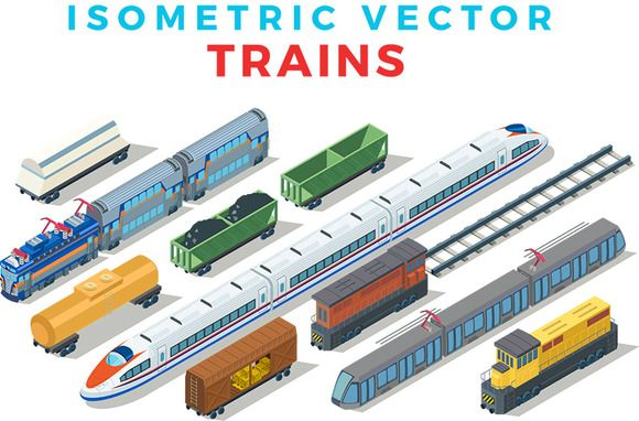 Vector Trains Isometric Flat style by Sentavio on @creativemarket
