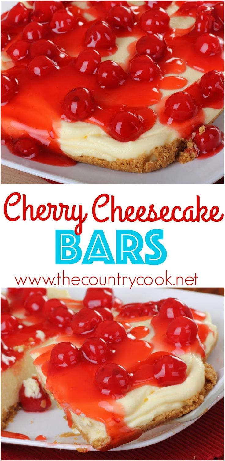 Cherry Cheesecake Bars recipe from The Country Cook