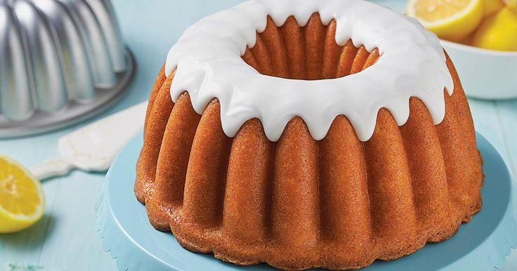 Dense, moist lemon cake with a tangy lemon glaze.