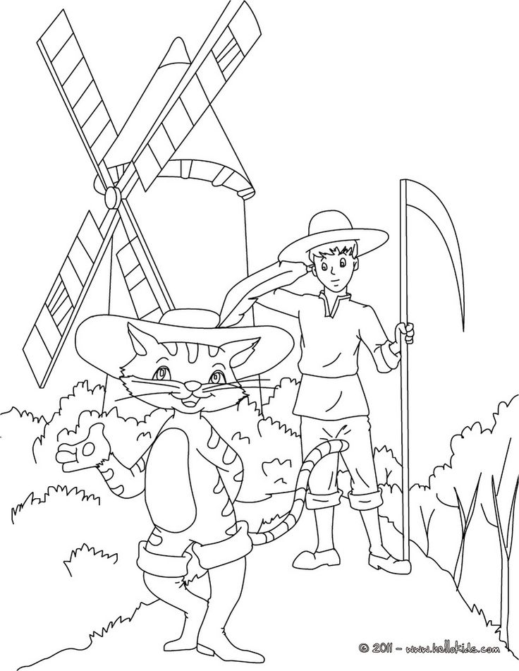 PUSS IN BOOTS fairy tale coloring page