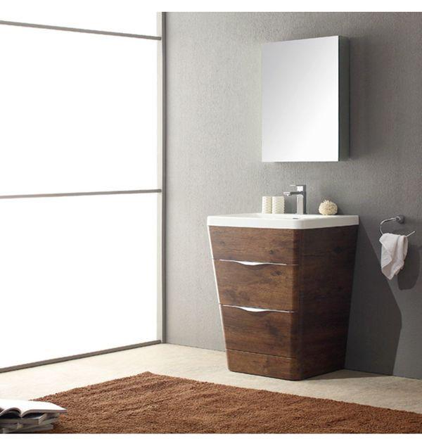 Fresca Milano 26 In Rosewood Modern Bathroom Vanity With Medicine Cabinet Modern Bathroom Vanity Bathroom Furniture Vanity Bathroom Vanity