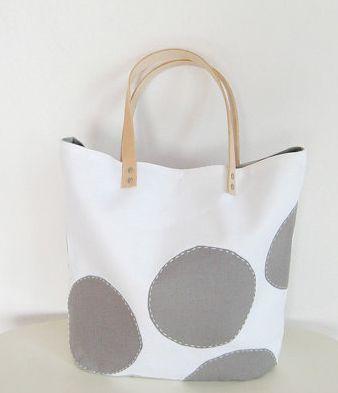 grey and white polka dot tote bag