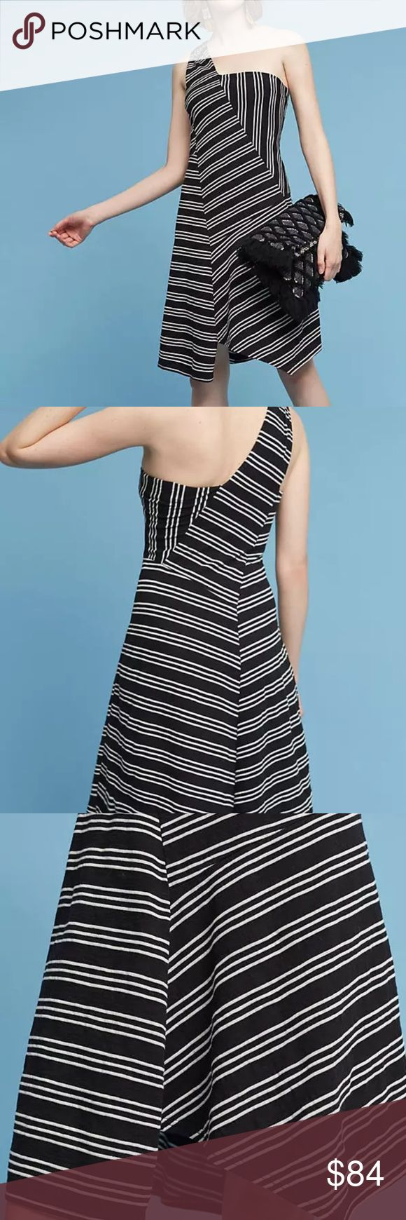 NWT Anthropologie Maeve moka one shoulder dress The name Maeve references a purple flower, a Greek goddess and a famously beautiful Irish warrior queen. In light of these inspirations, it's no surprise that the Maeve brand is both feminine and playful, a representation of beauty and strength at once.  By Maeve Cotton, polyester Striped print Pullover styling Hand wash Anthropologie Dresses