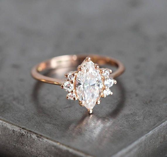 Rose Gold Moonstone Ring, 14k Cluster Engagement Ring, Diamond Sapphire Ring, Perfect Gift for Mom