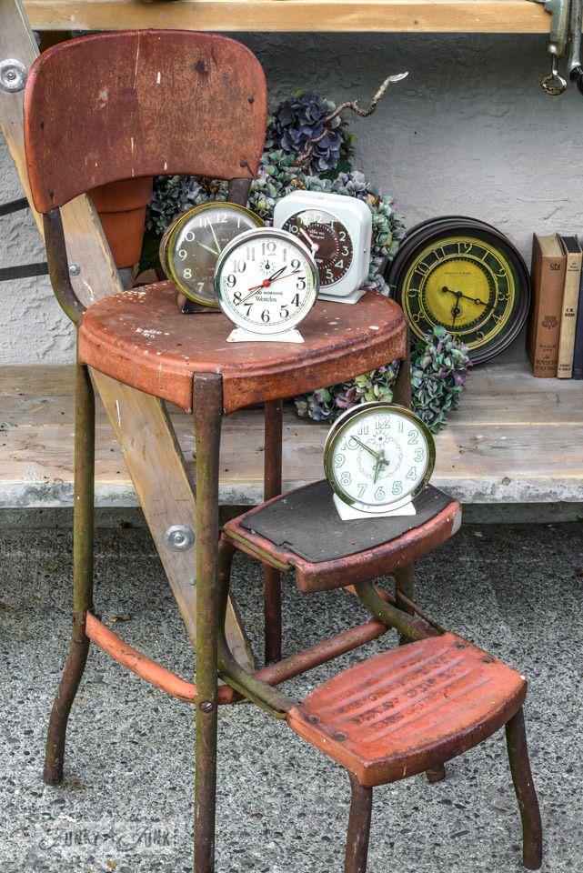 antique clocks on a vintage stool / FunkyJunkInteriors.net
