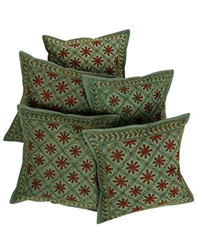 tnico-Cubre-Cojines-Decoracin-verde-bordada-algodn
