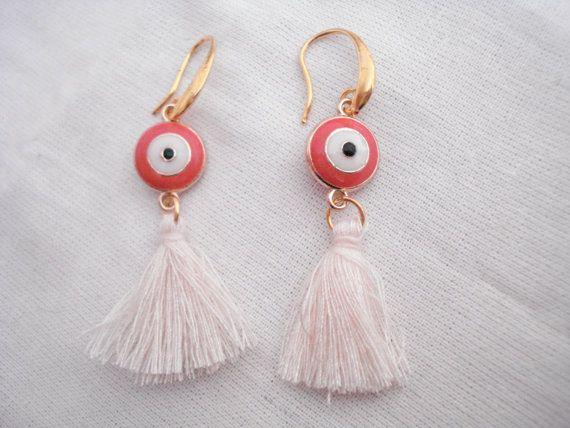 Coral evil eye tassel earrings Gold evil eye drops Boho by Poppyg