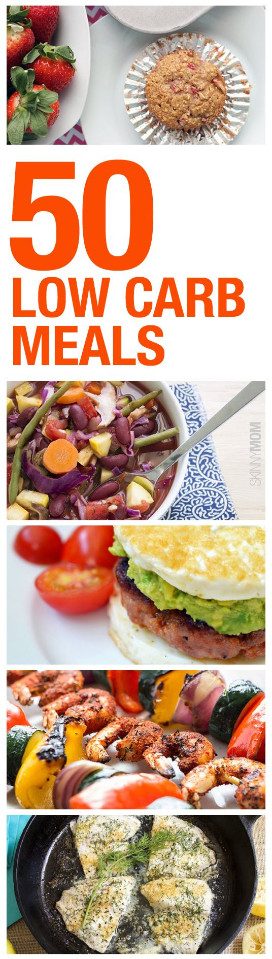 Watching your carb intake? Check out these 50 low carb breakfasts, lunch dinner, and snack options that will keep your body in shape and your tastebuds happy!