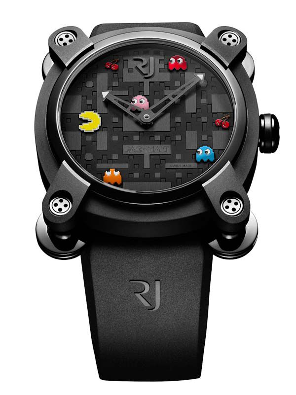 Pac-Man Watch  Another timepiece by RJ-Romaine Jerome. Only 80 watches will be created in this limited edition series. The design will be launched at the Colette store in Paris on September 3. Each watch will contain steel fused with parts of the Apollo 11 AND low oxidation silver fused with moon rocks!! Get in line and pick one up for $17,900 USD.