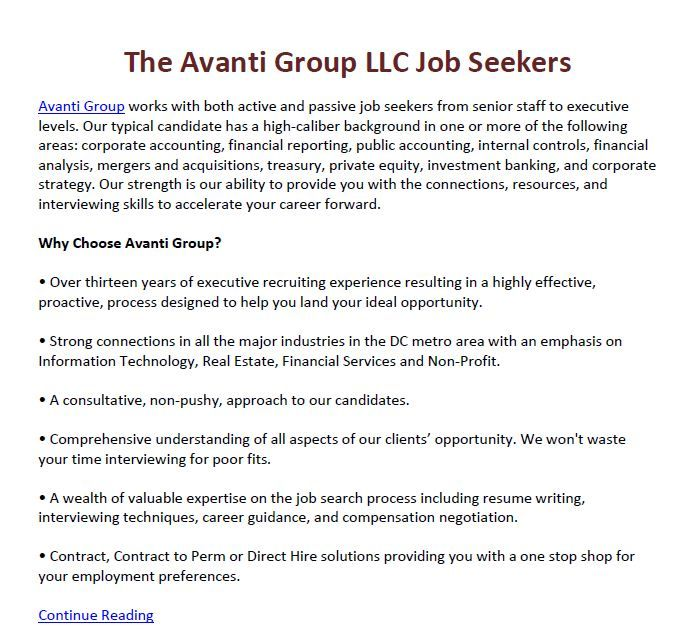 The Avanti Group LLC Job Seekers - Avanti Group works with both active and passive job seekers from senior staff to executive levels. Main Site: http://avantigroupllc.com/