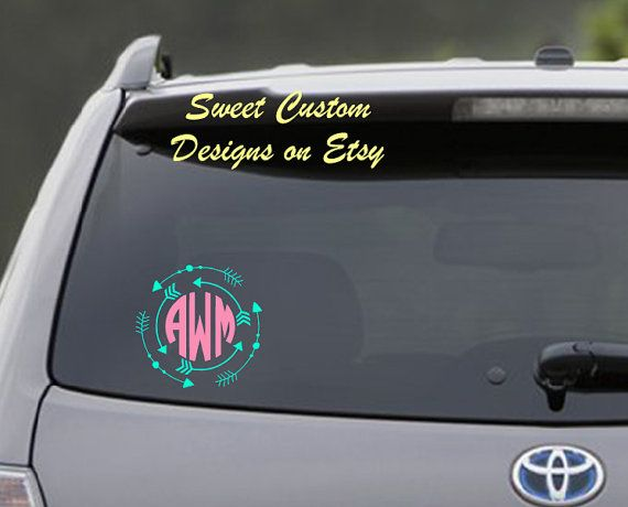 Want to claim your stake on your vehicle use this cute customized monogram decal with