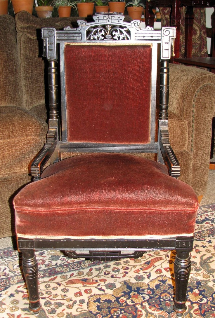 Vintage Victorian Chairs - Antique ebonized aesthetic eastlake movement side chair