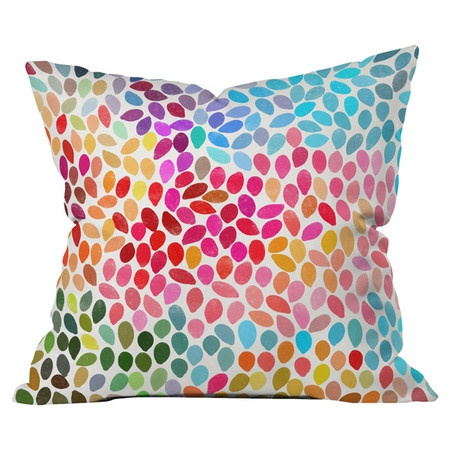 Garima Dhawan Rain 6 Pillow   Multicolor Throw Pillow With A Raindrop  Motif. Designed By Artist Garima Dhawan.