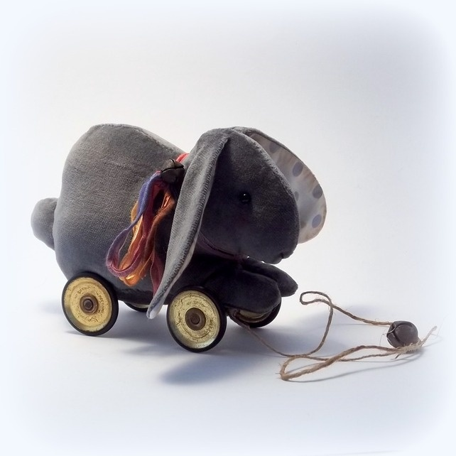 little velvet rabbit on vintage Meccano wheels £35.00