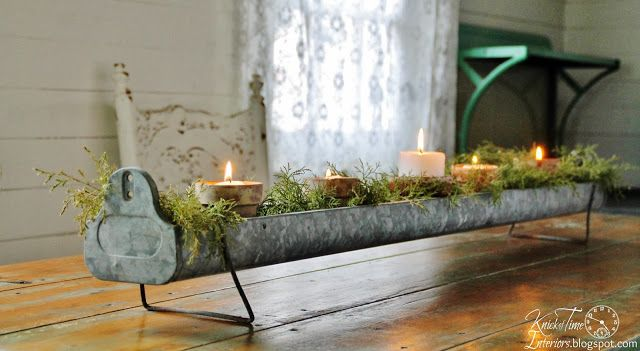 Repurposed Vintage Chicken Feeder Table Centerpiece via Knick of Time
