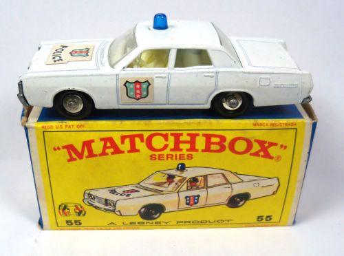Vintage Lesney Matchbox Cars Regular 55 Ford Mercury Police Car